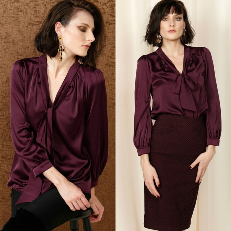 Sacha Drake HATCHIE BISHOP SLEEVE TIE NECK LOOSE FIT BLOUSE IN BLACK CHERRY