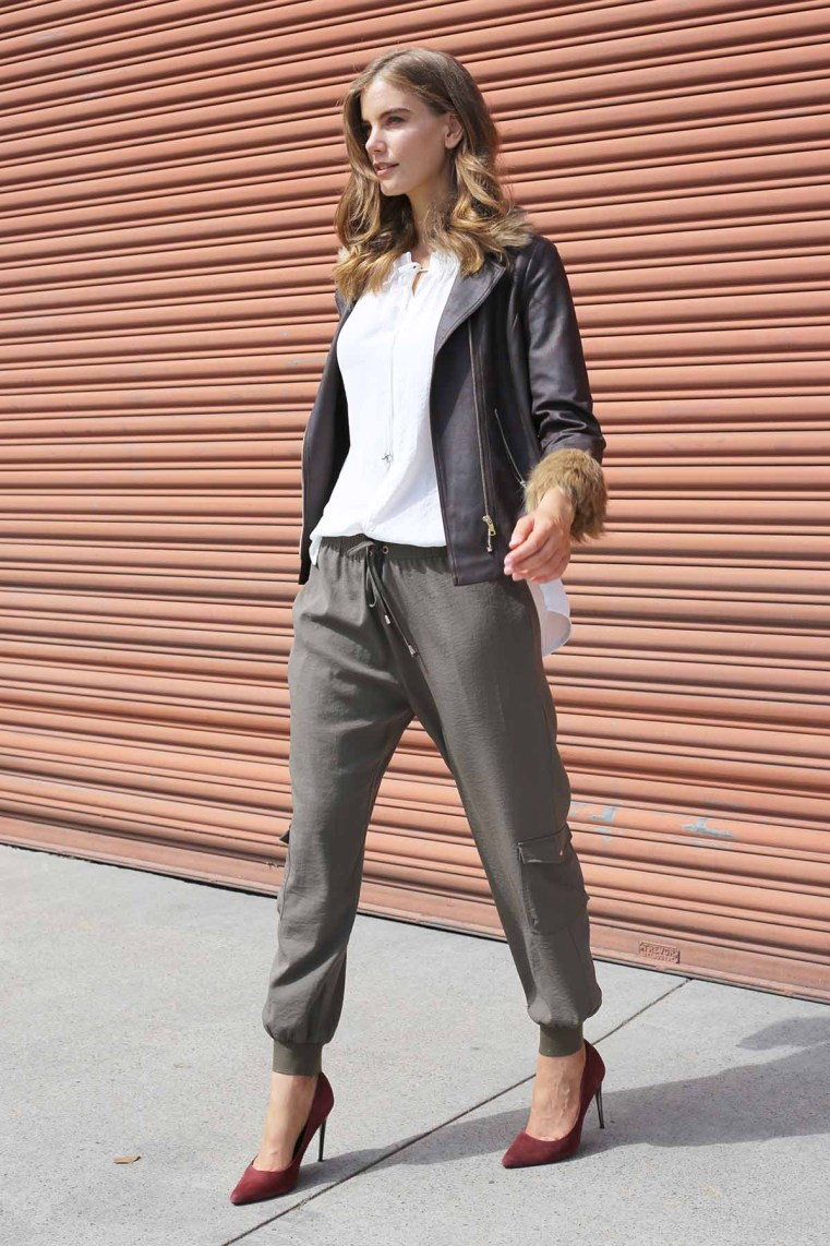 Motto chocolate Harlem fur jacket | Ivory Gigi blouse | Khaki leisure cargo pant