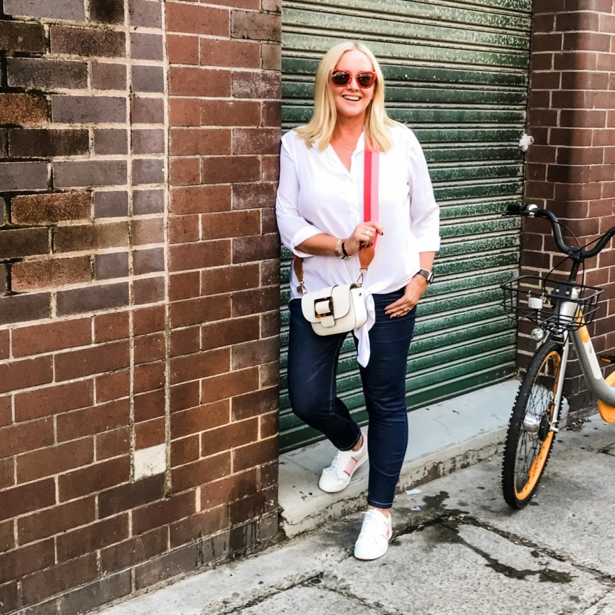 Styling You The Label Cate shirt and Jude jeans | FRANKiE4 Footwear LiSA sneakers