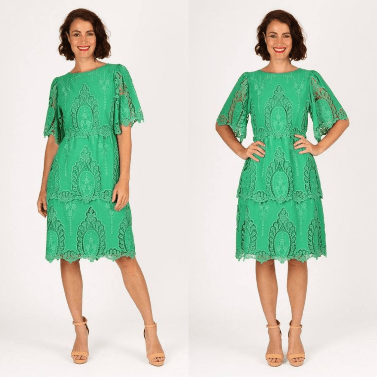 Maiocchi Alice lace dress in Emerald