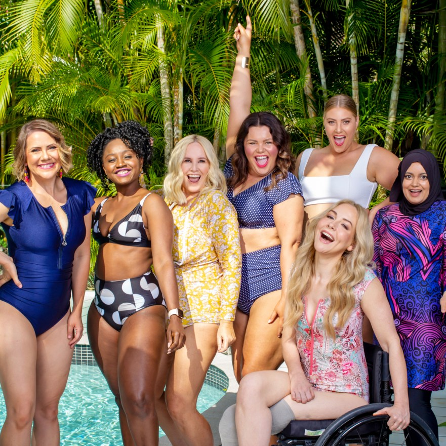 Styling You Annual Swimsuit Edition 2020 (from left), Rebecca Nolan @ilovethatskirt, Sonia Koroma @sonish_space, Nikki Parkinson @stylingyou, Stacey McGregor @stace_mcgregs, Caitlin Robertson @caitlin_robertson, Faaiza Osman @modestmunchies, Lisa Cox @lisacox.co