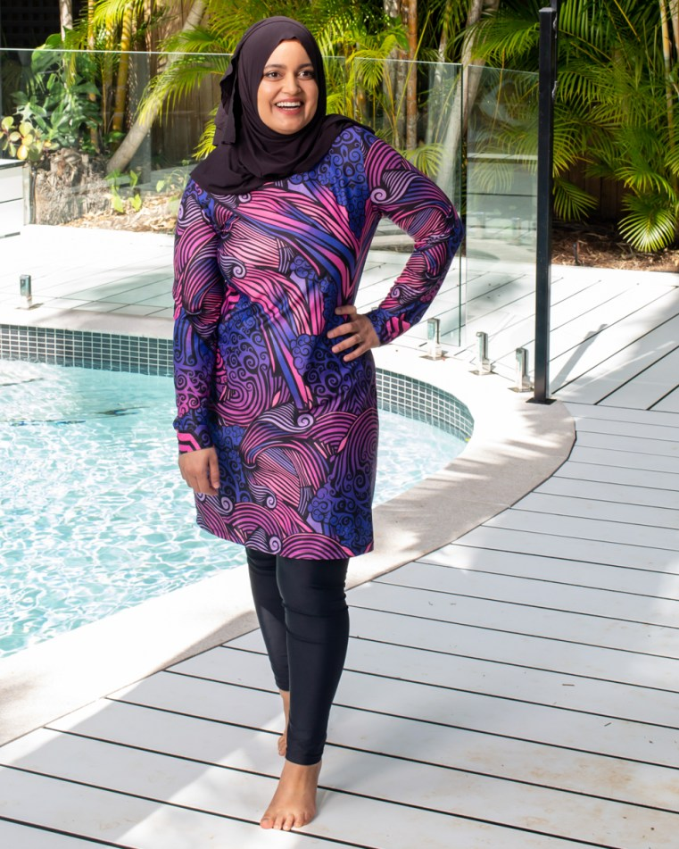 Faaiza Osman (@modestmunchies) wears her own swimsuit