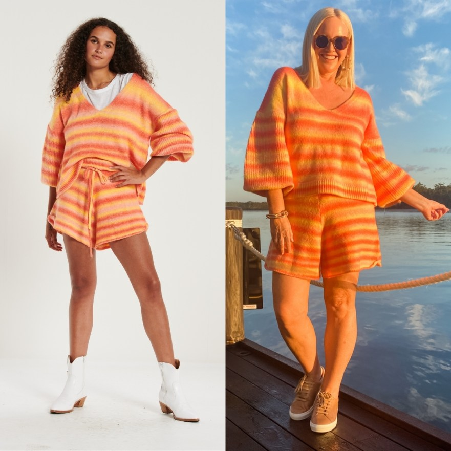 The Model and Me: Bohemian Traders Sunset jumper and knit shorts