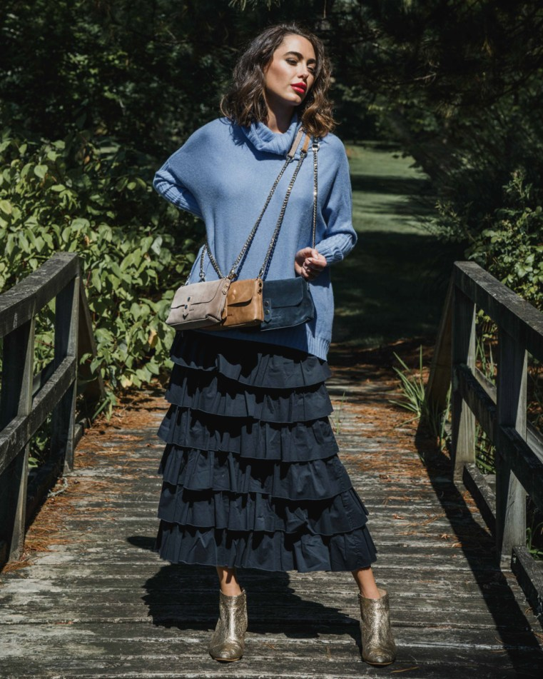 Arlington Milne Sinead roll-neck knit, Delilah midi skirt and Paige wallet