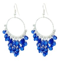 Navy Blue Crystal Chandelier Hoop Earrings - Lightweight