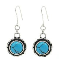Vintage Style Round Turquoise Stone Drop Earrings