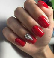gorgeous winter red nail art design