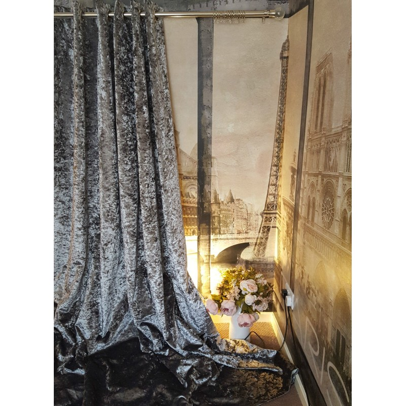 Huge Heavy Silver Crushed Velvet 126D 128W Blackout Lined Eyelet Bay Curtains  Stylish