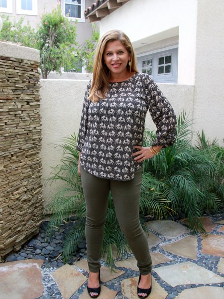 Stitch Fix November 2016 Review - Pixley Ellie Printed 3/4 Sleeve Blouse and Warp + Weft Mattie Skinny Jean #stitchfix #fashion #style