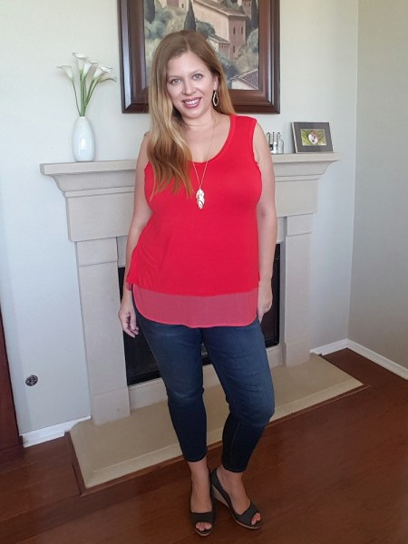 Stitch Fix May 2017 Review - Colette Charleene Woven Hem Split Back Knit Top and Prosperity Tabetha Capri Skinny Jeans #stitchfix #fashion #style