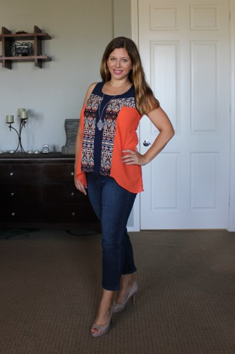 GLORIA COLORBLOCK and ABSTRACT PRINT HI-LO TANK & ODELL CAPRI JEAN gloria hi-lo blouse