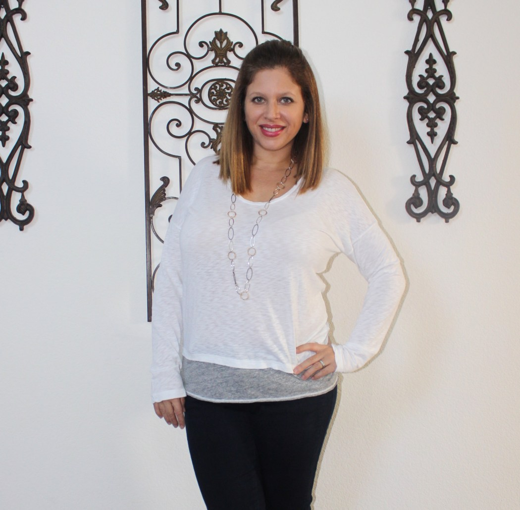 stitch fix state side hildie layered knit top and liverpool shania stitched detail jean
