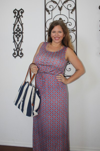 Stitch Fix Street Level Anchorage Striped Canvas Tote & Papermoon Waters Printed Maxi Dress