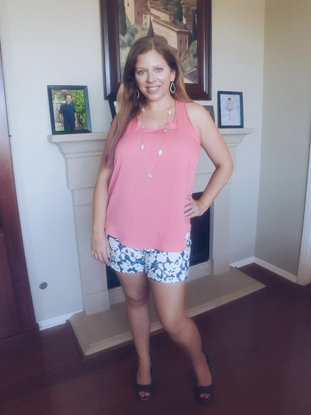 Stitch Fix June 2017 Review - Kaileigh Nordica Back Detail Top & Margaret M Lea Printed Short
