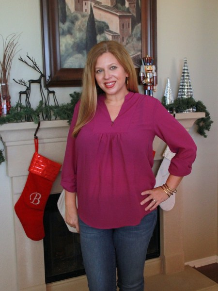 Stitch Fix December 2016 Review - Brixon Ivy Sylvester Split Neck Blouse #stitchfix #fashion #style