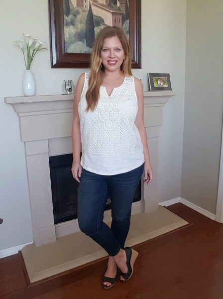 Stitch Fix May 2017 Review - Skies are Blue Jemma Crochet Front Knit Top and Prosperity Tabetha Capri Skinny Jeans #stitchfix #fashion #style