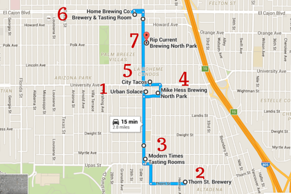 North Park Brewery Tour Map