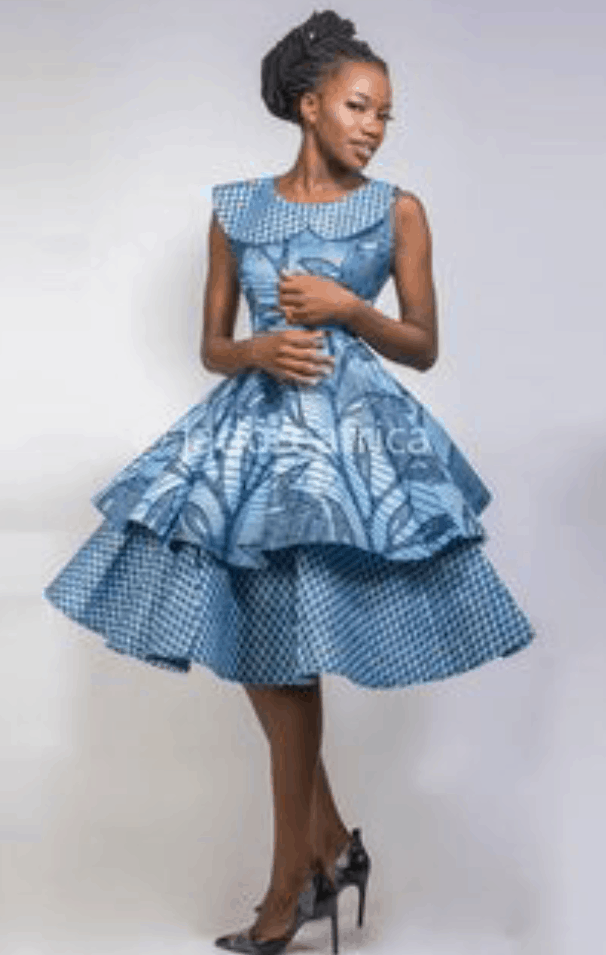 African print fabric short gown styles