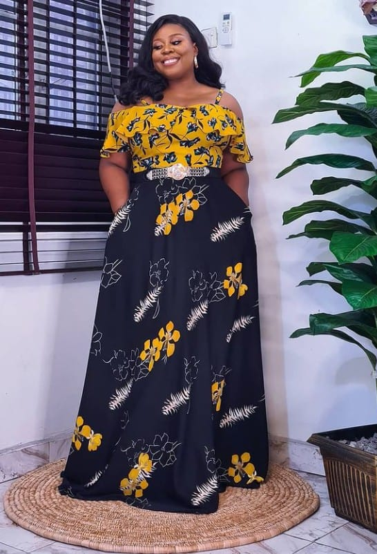 Gorgeous and dazzling Ankara long gown Styles for Owambe parties