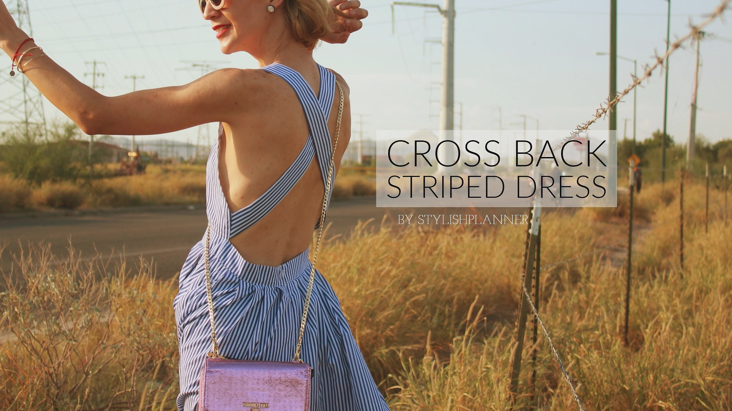 Cross back striped dress