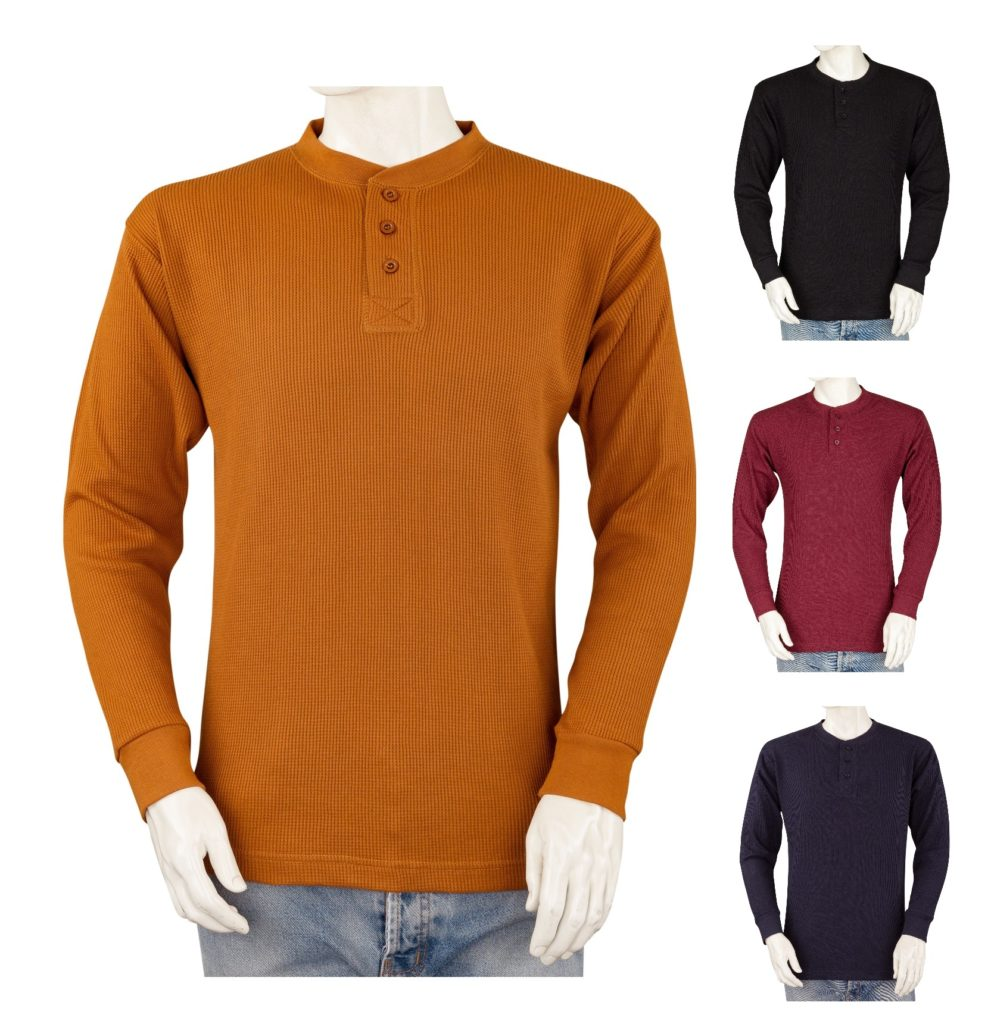 Henley Big and Tall Mens THERMAL Shirts Cotton Blend Heavy Weight