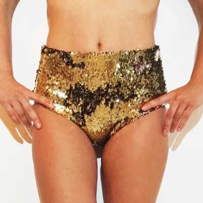 SPARKLE SHORT_GOLD_POLEWEAR & ACTIVEWEAR_STYLOSCOPE_FRONT