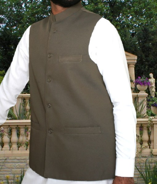 Waist Coat Plain Light Brown
