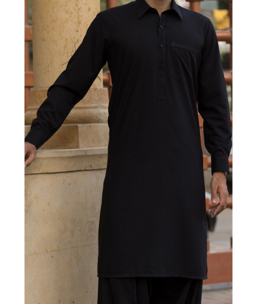 Shalwar Kameez Black Wash n Wear Shirt Collar