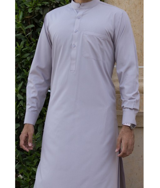 Shalwar Kameez Grey Wash n Wear Band Collar