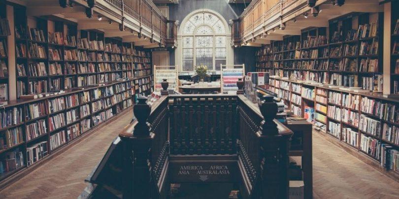 Foto de uma livraria, com inúmeros produtos autorais.