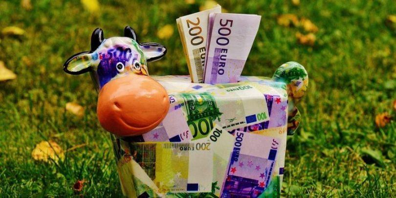 Uma vaca guardando dinheiro, mostrando que poupar faz parte dos 4 hábitos milionários para enriquecer.