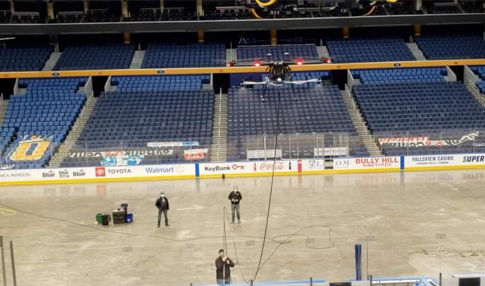 EagleHawk performs a test run at KeyBank Center in Buffalo scaled