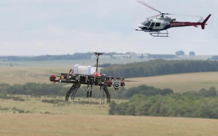 Drone and ETPS Helicopter in air 1440 x 900