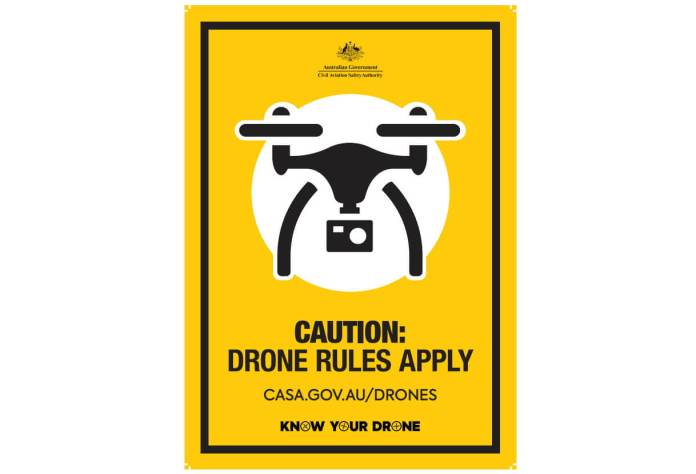 caution drone rules apply