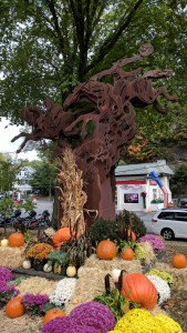 The large metal sculpture showing the Headless Horseman in action in the center of Sleepy Hollow