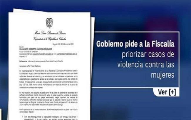 Gobierno pide a la Fiscalía priorizar casos de violencia contra las mujeres