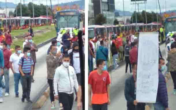 Comerciantes bloquean vías de Bogotá por cuarentenas