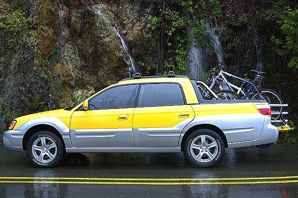 Yellow Subaru Baja