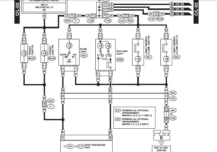 subaru wrx interior illumination wiring