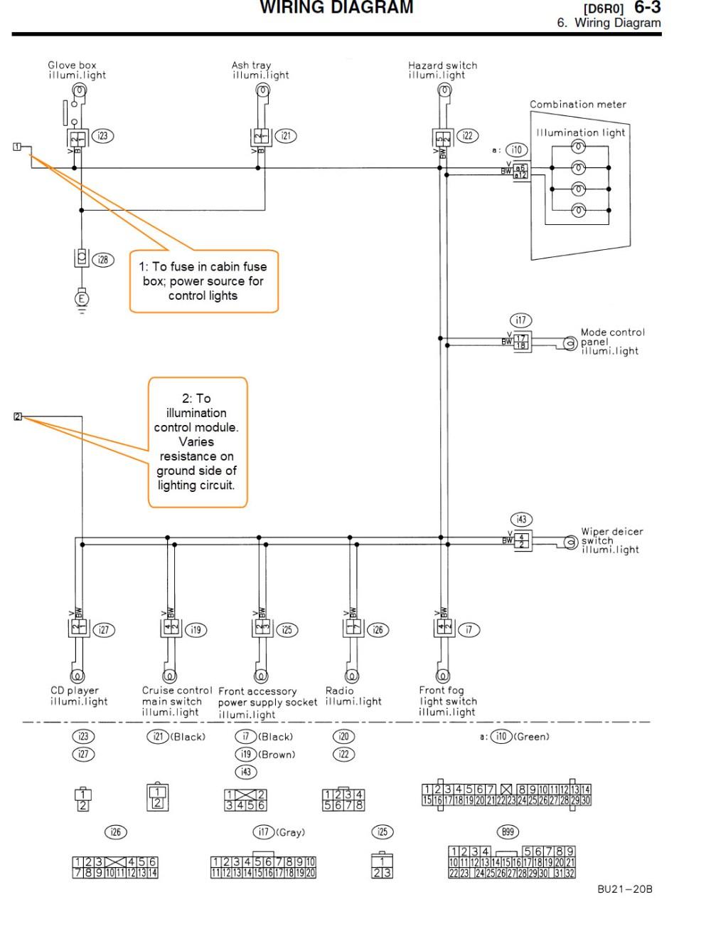 medium resolution of subaru outback illumination control module