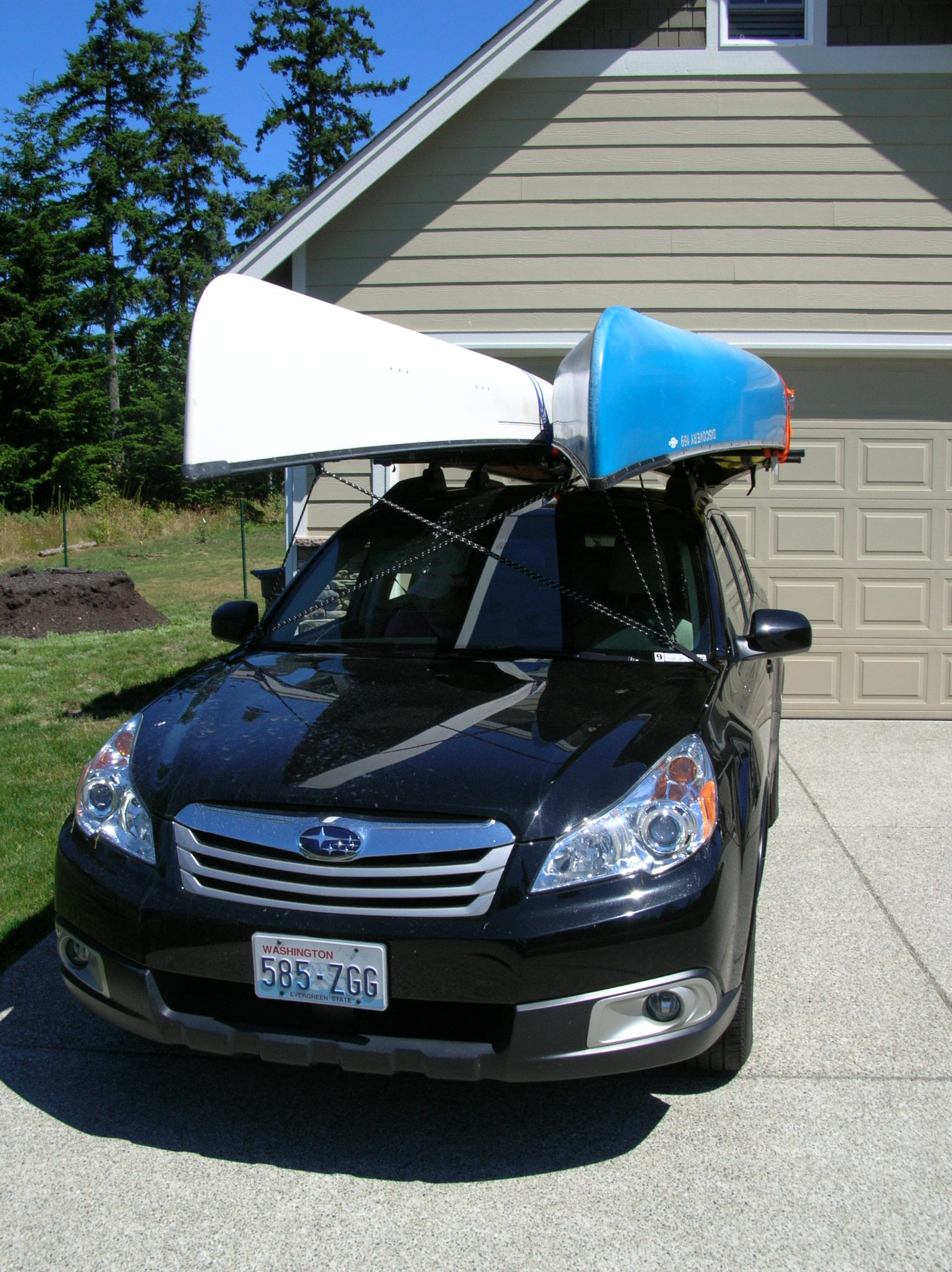 2011 roof rack and a large canoe