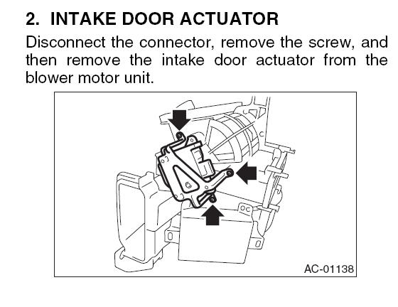 Service manual [Blend Door Removal 2004 Subaru Outback