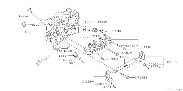 13333AA020 Genuine Subaru ROCKER SUB ASSY VALVE EXHAUST