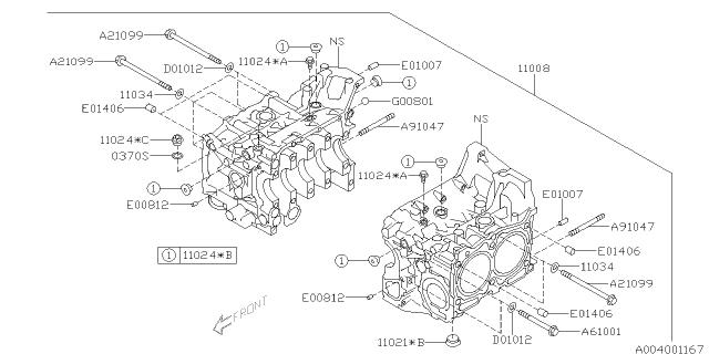 11008AA950 Genuine Subaru BLOCK SET-CYLINDER