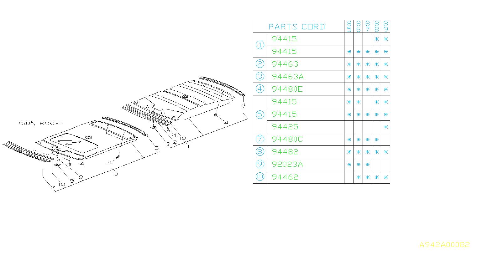Subaru DL/GL/GL10/RS/RX Headliner Clip (Grey). Trim, ROOF