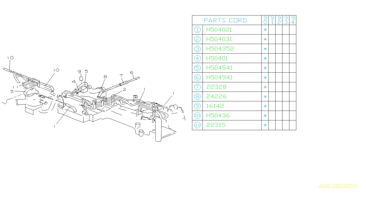 Subaru Loyale Connector Vacuum Hose No 2 Control