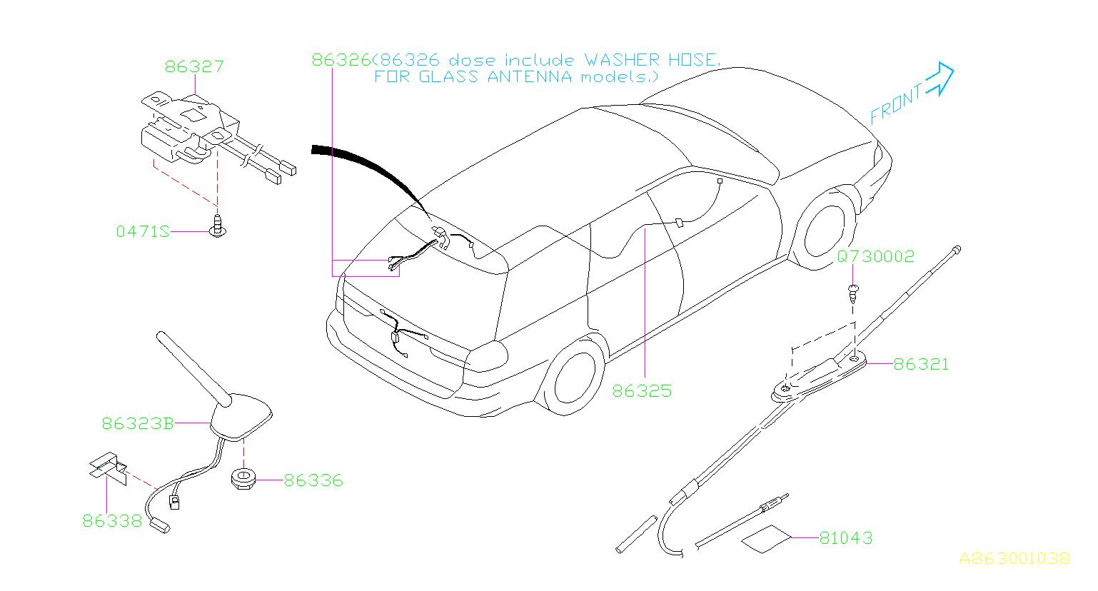 Subaru Legacy Cord Antenna, FEEDER. Electrical, AUDIO
