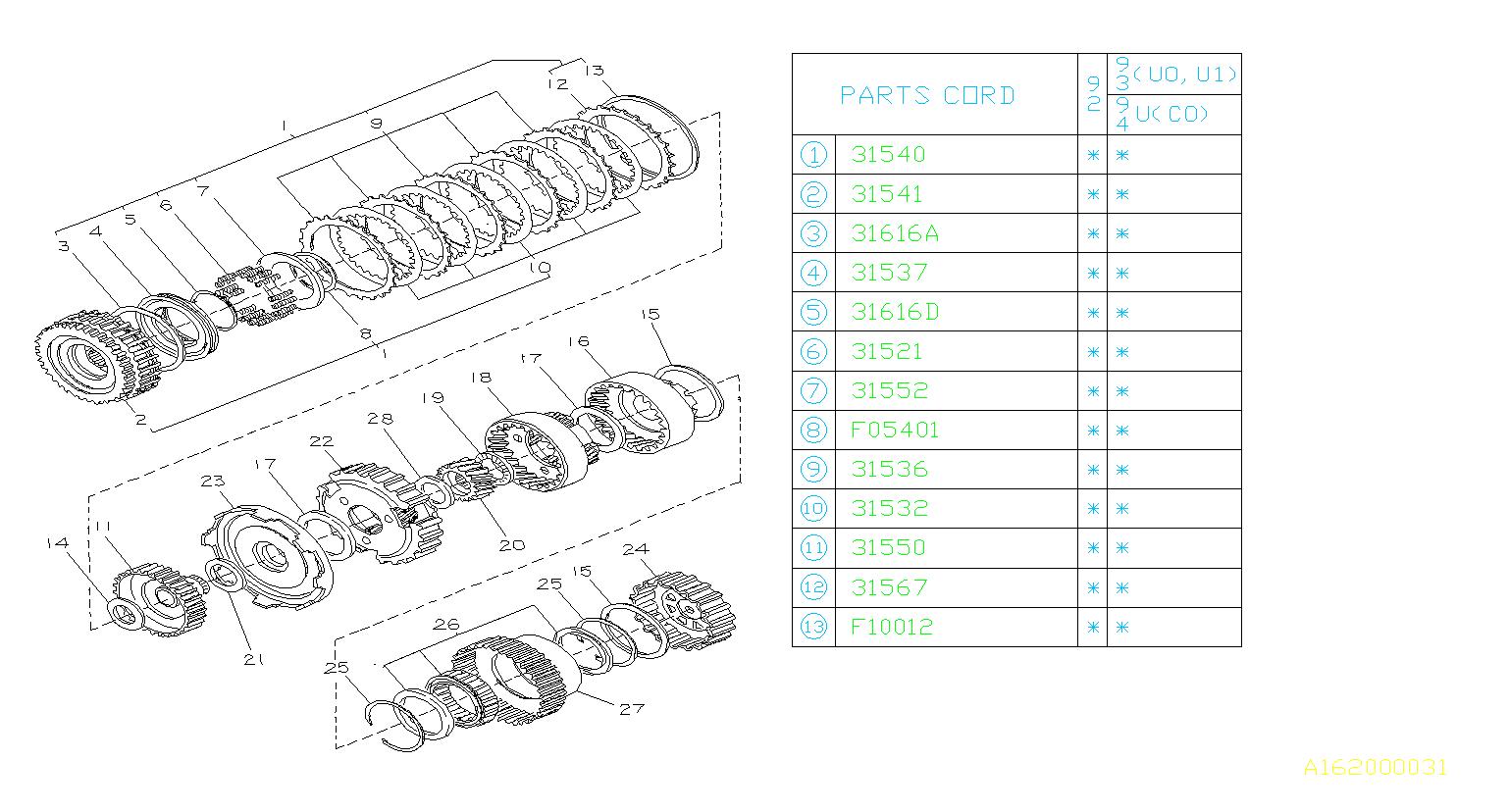 Subaru SVX Plate-retainer clutch. Planetary, high
