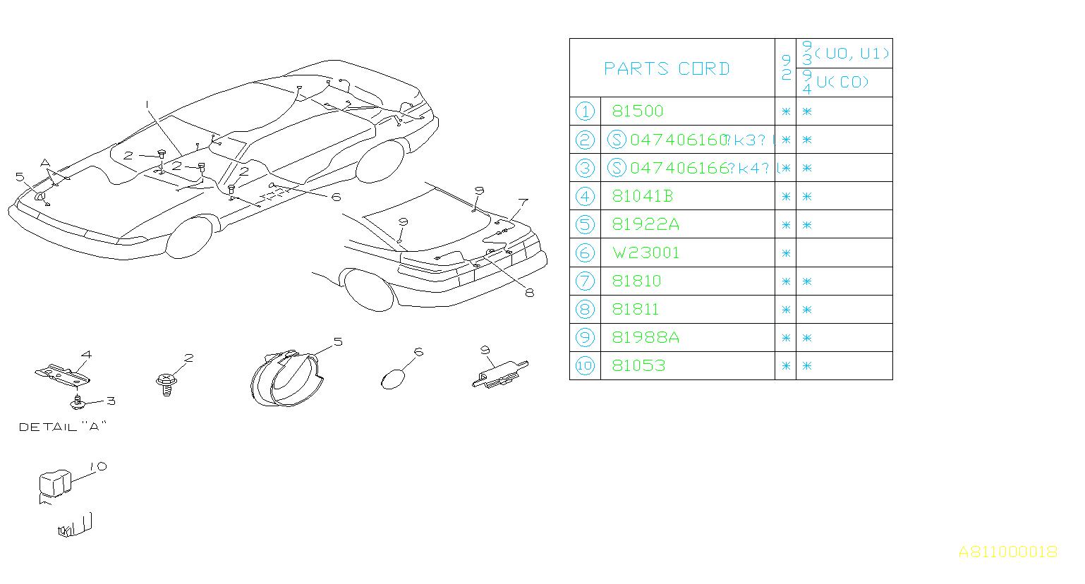 Subaru SVX Hole plug-right. Rh side. Harness, wiring, rear
