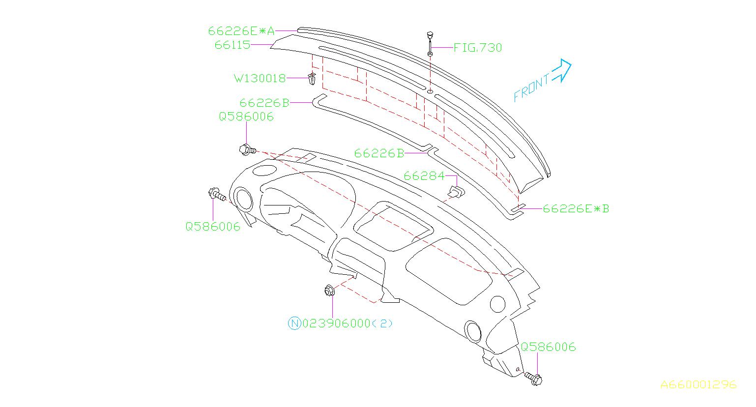 Subaru Impreza Clip Instrument Panel Lower